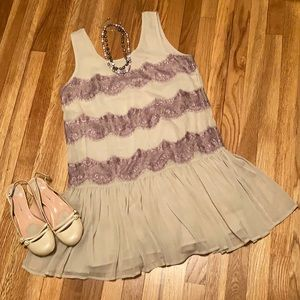Topshop lace lilac drop waist mini dress US 10